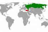 Map indicating locations of Russia and Turkey