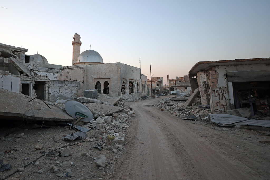 A picture taken on March 7, 2020, shows destruction in the village of al-Nayrab, about 14 kilometers (8.7 miles) southeast of the city of Idlib in northwestern Syria. (AFP Photo)