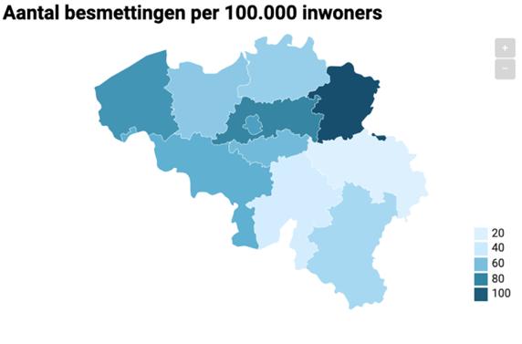 The Ratio of Coronavirus Cases per 100,000 People in Belgium