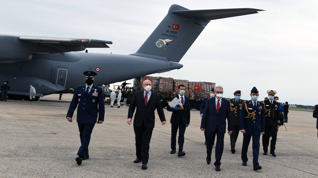 "US Secretary of State Mike Pompeo thanked Turkey on Tuesday for sending medical aid to the country amid the novel coronavirus outbreak on Twitter with this taken picture: ""During times of crisis, @NATO Allies must stand together. We thank Turkey for their generous donation of medical supplies and protective equipment to help us fight #COVID19 in our hardest hit areas. Americans are grateful for your friendship, partnership and support."""