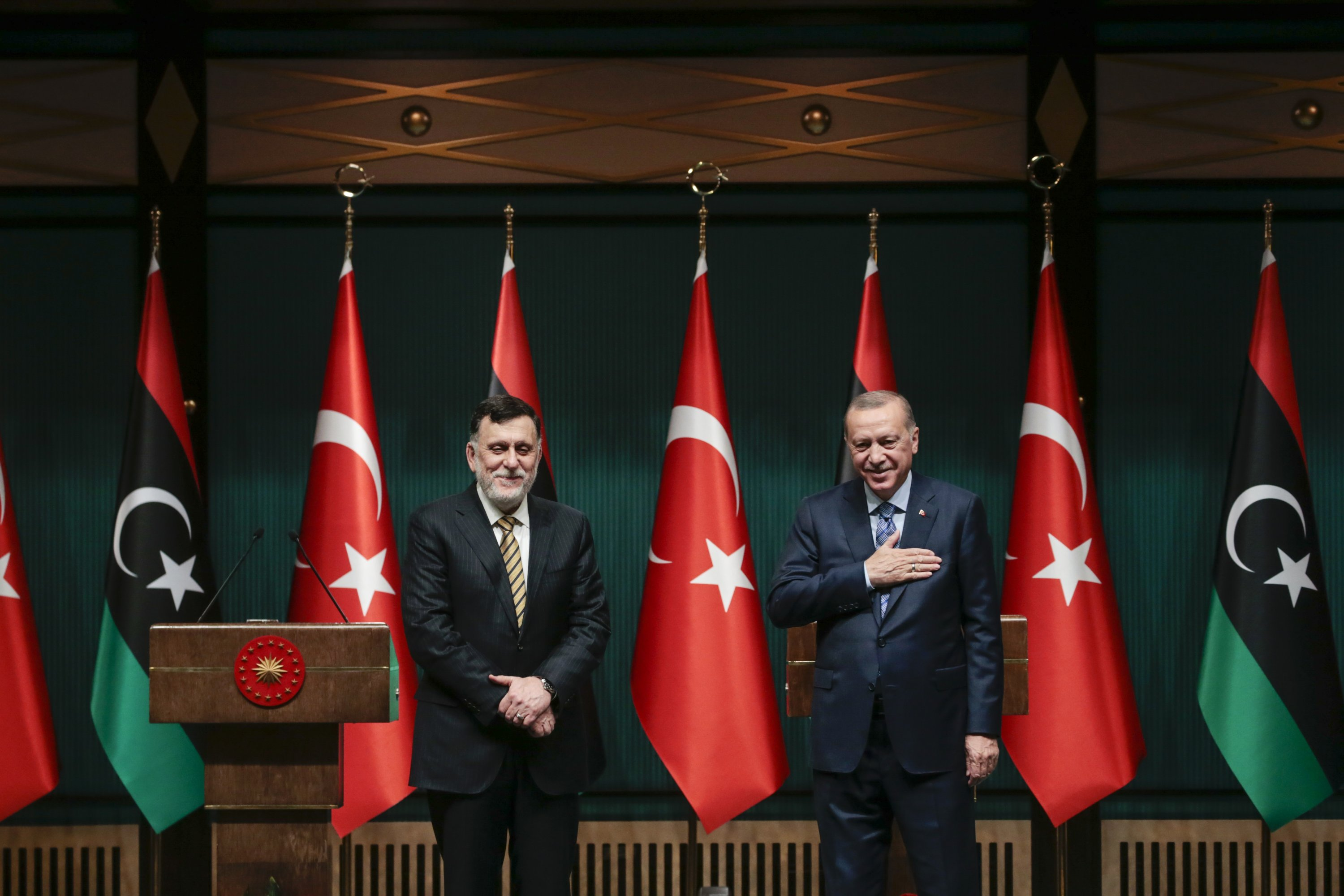 President Recep Tayyip Erdoğan and Libya's Prime Minister Fayez al-Sarraj during a press conference after their meeting on the Libya crisis and bilateral relations, Ankara, June 4, 2020. (AA Photo)