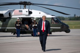U.S. President Donald Trump walks to board Air Force One prior to its departure from Austin Straubel International Airport in Green Bay, Wisconsin, June 25, 2020. (AFP Photo)
