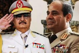 Egypt's autocratic President Abdel Fattah al-Sisi (R) Libyan warlord Khalifa Haftar (L)
