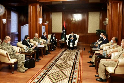 Defense Minister Hulusi Akar during a meeting with Libya's internationally recognized Prime Minister Fayez al-Sarraj in Tripoli, Libya, July 3, 2020. (Reuters Photo)