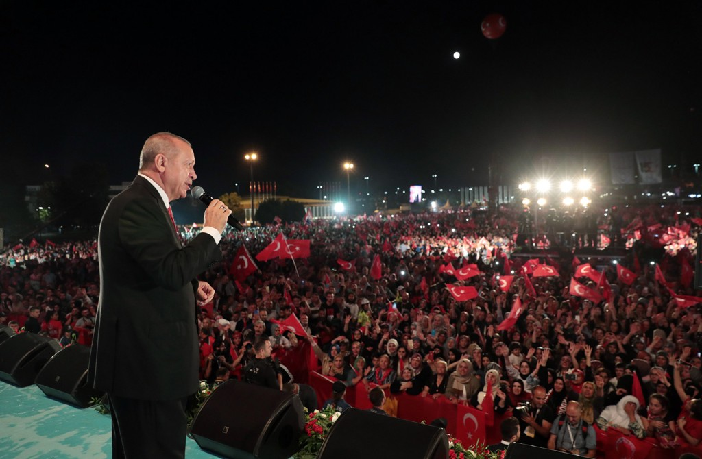 President Recep Tayyip Erdoğan speaks during a rally against the FETÖ-led coup attempt, Istanbul, July 15, 2019. (AA Photo)