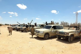 Forces loyal to the U.N.-recognized Libyan Government of National Accord (GNA) secure the area of Abu Qurain, halfway between the capital Tripoli and Libya's second-largest city Benghazi, against forces loyal to putschist Gen. Khalifa Haftar, July 20, 2020. (AFP Photo)