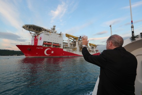 President Recep Tayyip Erdoğan waves as Turkey's drilling vessel Fatih departs for the Black Sea during a ceremony in Istanbul, Turkey, May 29, 2020. (Reuters Photo)