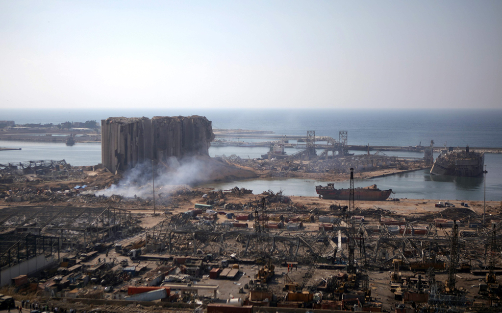 A partial view of the devastated Port of Beirut is pictured from the nearby neighborhood of Mar Mikhael, two days after a massive blast there shook the capital Beirut, Lebanon, Aug. 6, 2020. (AFP Photo)