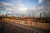 Graffiti at the damaged port area in the aftermath of a massive explosion in Beirut, Lebanon, Aug. 11, 2020. (Reuters Photo)
