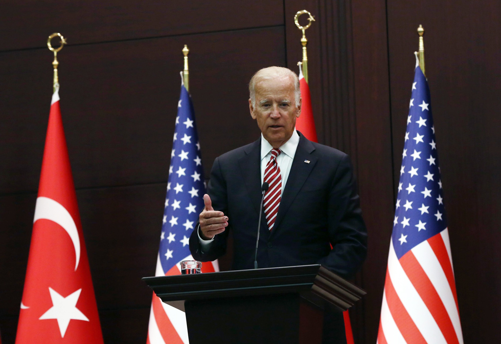 Then-U.S. Vice President Joe Biden speaks to the media after talks with then-Turkish Prime Minister Binali Yıldırım in Ankara, Turkey, Aug. 24, 2016. (AP Photo)