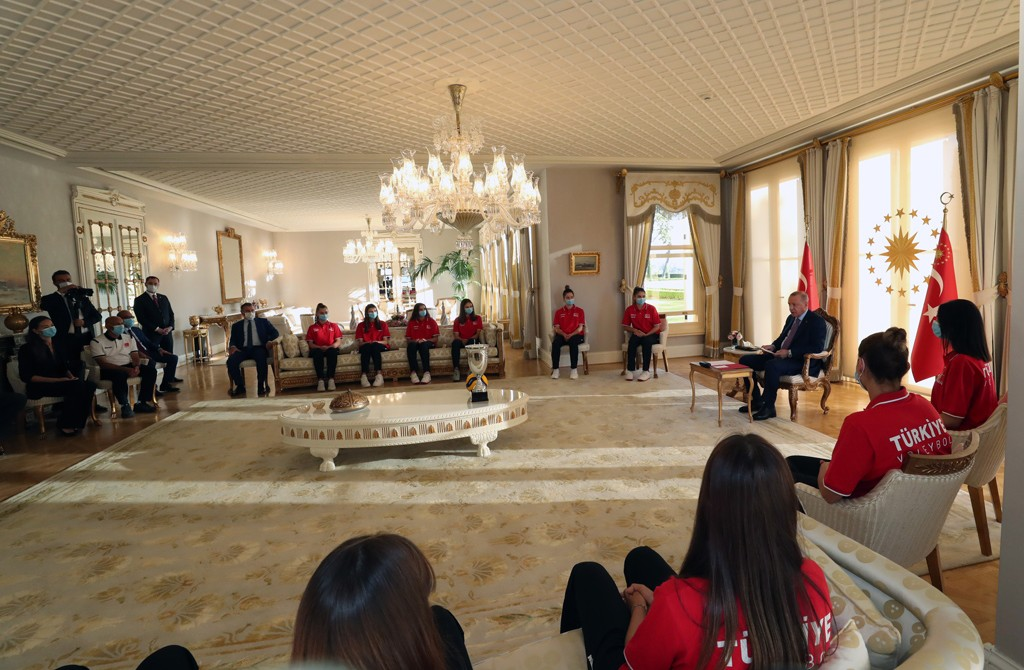 Turkish President Recep Tayyip Erdogan meets players of Turkish women's under 19 volleyball team after they won CEV U19 Volleyball European Championship, in Istanbul, Turkey on September 05, 2020. Turkey beat Serbia 3-2 in the final to win the gold medal in the 27th edition of the competition. The final game took place in Bosnia and Herzegovina's city of Zenica.