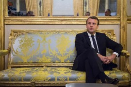 French President Emmanuel Macron is seen at Elysee Palace in Paris