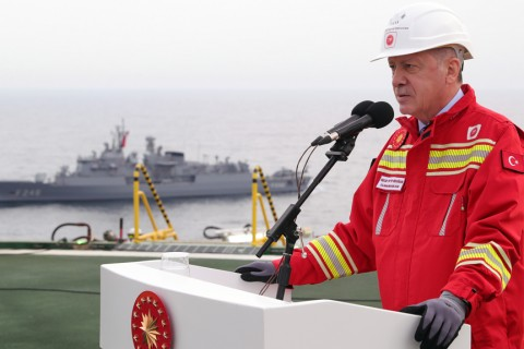 Turkish President Recep Tayyip Erdogan speaks as after he inspected at Turkey's drilling ship 'Fatih' in Black Sea, Turkey on October 17, 2020.