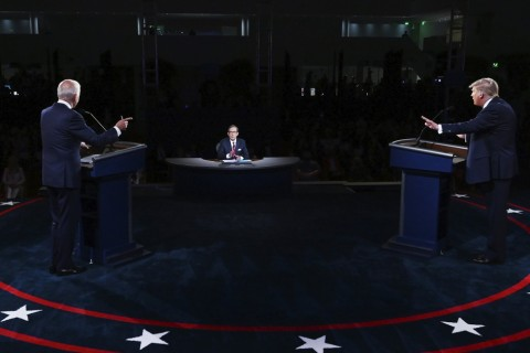 U.S. President Donald Trump and U.S. Democratic presidential candidate former Vice President Joe Biden participate in the first presidential debate, at Case Western University and Cleveland Clinic, in Cleveland, Ohio, U.S., Sept. 29, 2020. (AP Photo)