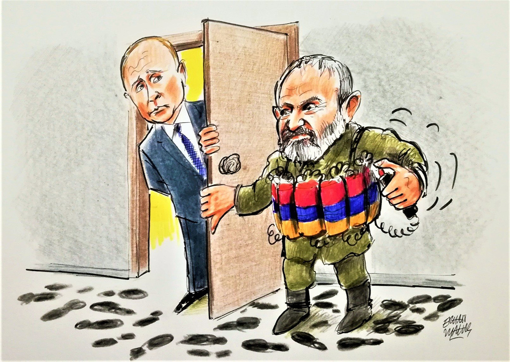 Russian President Vladimir Putin and Armenian Prime Minister Nikol Pashinian