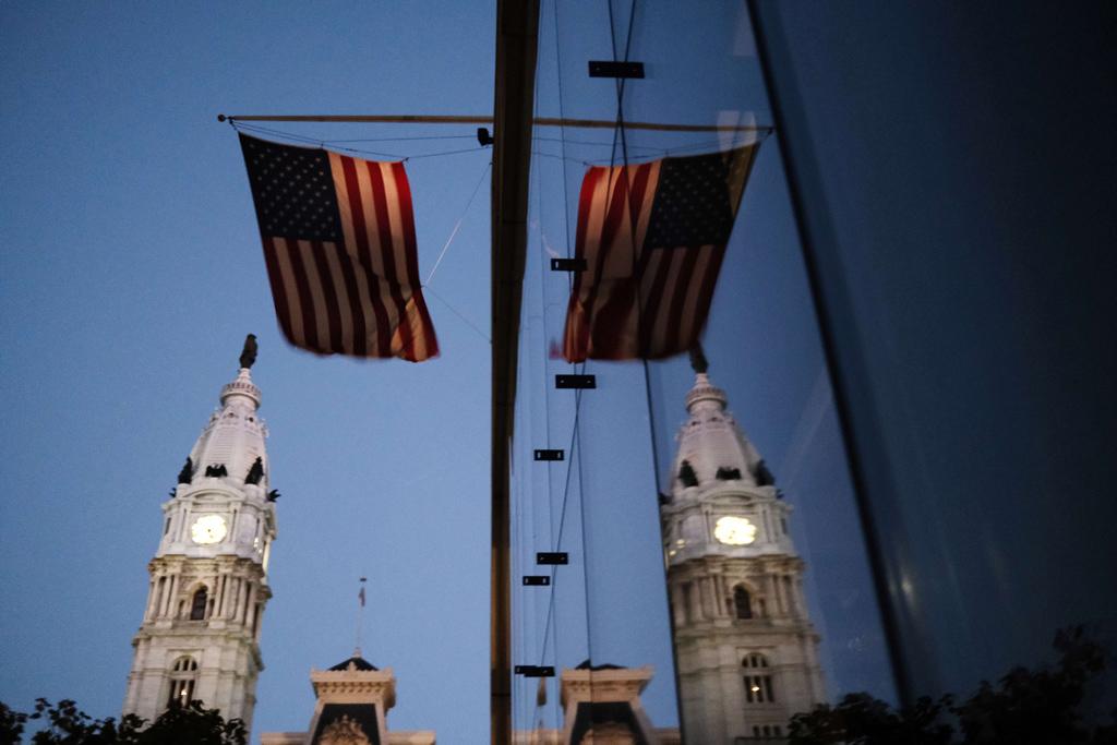 The American flag hangs from a building near Philadelphia City Hall, in Pennsylvania, U.S., Nov. 4, 2020. (AFP Photo)