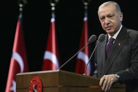 President Recep Tayyip Erdoğan speaks during a meeting in Ankara, Turkey, Oct. 6, 2020. (AP Photo)