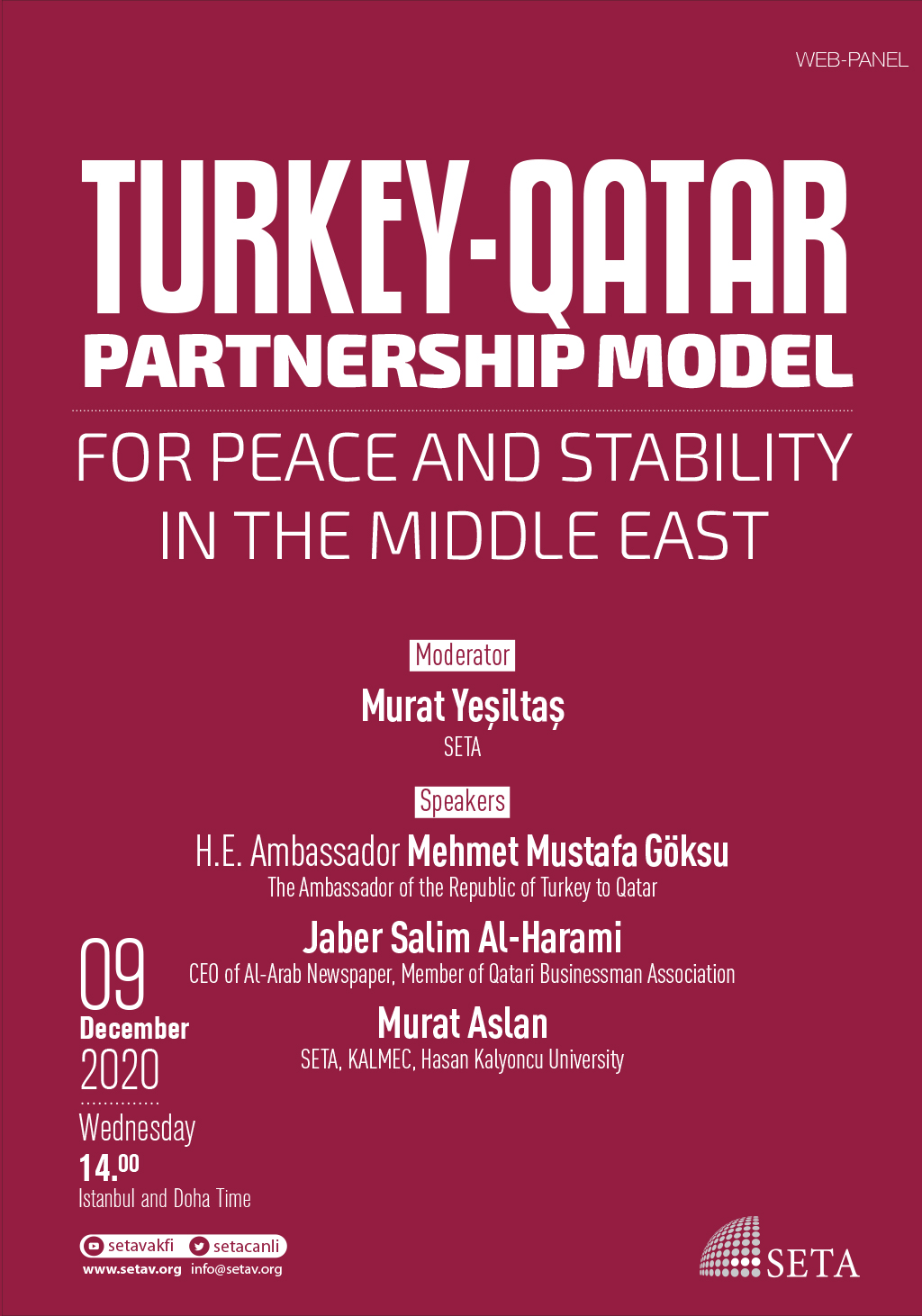 Web Panel: Turkey-Qatar Partnership Model | For Peace and Stability in the Middle East