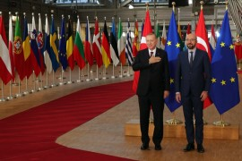 Official welcome of Recep Tayyip ERDOĞAN, President of Turkey, by Charles MICHEL, President of the European Council, at the EU-Turkey leaders' meeting, on 9 March 2020, in Brussels.