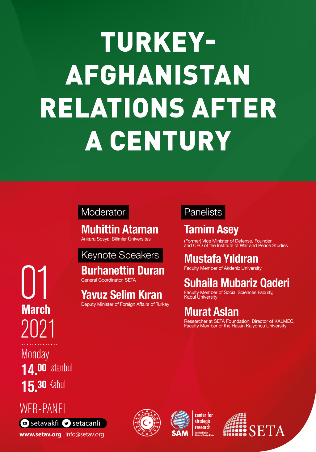 Web Panel: Turkey-Afghanistan Relations after a Century